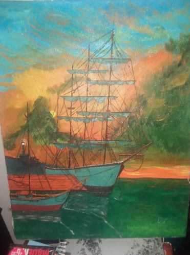 bob painting masted ship